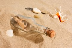 Message in bottle. On the beach with seashell Royalty Free Stock Photography