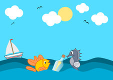 Message in a bottle in the middle of the ocean. Funny cartoon illustration Royalty Free Stock Image