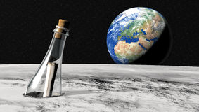 Message in a bottle from the moon Stock Image