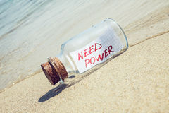 Message in a bottle Need power. Creative energy concept royalty free stock images