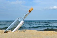 Message in the bottle from ocean. Coming message concepts Stock Image