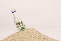 Message in a bottle on sand. Horizontal Stock Image