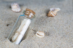 Message in a bottle on the sand of th beach Stock Photos