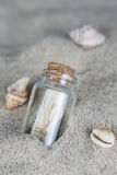 Message in a bottle on the sand of th beach Royalty Free Stock Photos