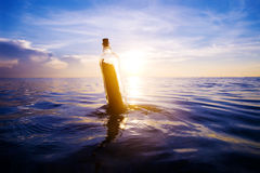 Message in the Bottle on the Sea Stock Photos