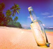 Message Bottle Sending Sea Tropical Information Concept Royalty Free Stock Images