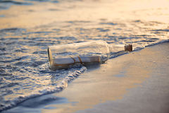 Message in a Bottle st Sunset Stock Image