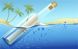Message in the bottle. Summer beach background with message in the bottle Stock Image
