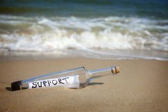 Message in a bottle / Support. / deserted beach stock images
