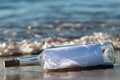 Message in a bottle in the surge. A message in a bottle with news in the surge royalty free stock photos
