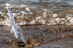 Message in a bottle in the surge stock photo