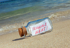 Message in a bottle Terrible heat Stock Photography