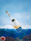 Message in a bottle. Bottle with tropical paradise inside. Conceptual illustration about travel Royalty Free Stock Photo