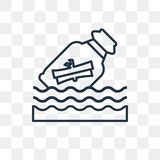 Message in a bottle vector icon isolated on transparent background, linear Message in a bottle transparency concept can be used w vector illustration