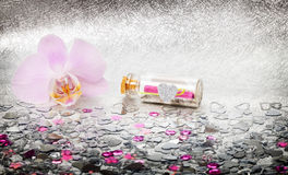 Message in a bottles, Heart, orchid Royalty Free Stock Image