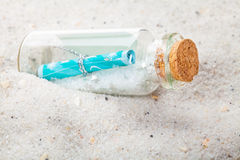 Message in a bottles, sand Royalty Free Stock Images
