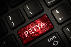 Message on broken red enter key of keyboard. Computer petya virus attack. Copy space Royalty Free Stock Image