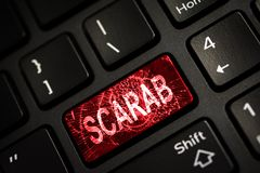 Message on broken red enter key of keyboard. Computer Scarab virus attack. Copy space Stock Photo