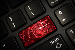 Message on broken red enter key of keyboard. Computer virus attack. Copy space Royalty Free Stock Photos