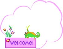 Message Bubble with Chameleon and Welcome Sign Royalty Free Stock Photos