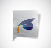 Message bubble and graduation hat. illustration Stock Photography