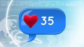 Message bubble icon with heart and numbers royalty free illustration