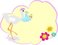 Message Bubble with Stork and Baby Stock Images