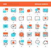 Message Bubbles Icons. Vector set of message bubbles flat line web icons. Each icon with adjustable strokes neatly designed on pixel perfect 48X48 size grid Stock Photo