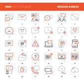 Message Bubbles Icons. Vector set of message bubbles flat line web icons. Each icon with adjustable strokes neatly designed on pixel perfect 48X48 size grid Vector Illustration