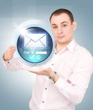 Message button on the palms of his hands Stock Images
