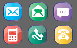 Message and call buttons. Set of colorful buttons/icons with phone and mail symbols Stock Images