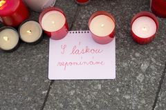 Message and candles - Tribute tu Václav Havel Stock Image