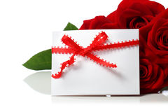 Message card with beautiful red roses Royalty Free Stock Photo