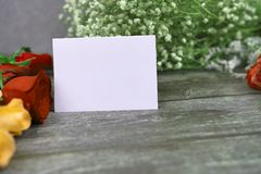 Message cards paper and roses for background for greeting cards. Message cards paper and little white flower for background for greeting cards or template or stock photos