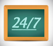 24 7 message on a chalkboard illustration Royalty Free Stock Images