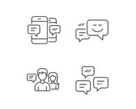 Message, Chat speech bubble and Communication. Message, Chat speech bubble and Communication line icons. Group chat, Conversation and SMS signs. Messenger royalty free illustration