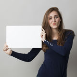 Message claim without proof for 20s thinking woman Royalty Free Stock Photography