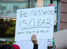 The Message is Clear - Read the Fine Print Stock Photo