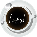 Message in a coffee cup Royalty Free Stock Photo
