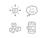 Message, Comic speech bubble and Communication. Message, Comic speech bubble and Communication line icons. Group chat, Conversation and SMS signs. Phone alert stock illustration