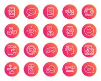 Message and Communication icons. Group chat. Message and Communication icons. Group chat, Conversation and Speech bubbles signs. SMS, Phone alert and Stop Stock Photos