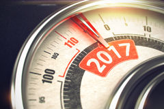 2017 - Message on Conceptual Manometer with Red Needle. 3D. Shiny Metal Speedmeter with Red Punchline Reach the 2017. Illustration with Depth of Field Effect Stock Photography