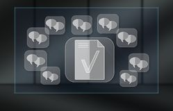 Concept of message content control. Message content control concept on dark background royalty free stock images
