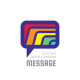 Message - creative vector background illustration. Communication colorful logo template. Speech bubble abstract sign. Social media Royalty Free Stock Photography