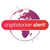 Message cryptolocker alert on the background of a world map. Royalty Free Stock Photography