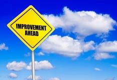 Message d'amélioration en avant sur le panneau routier images stock