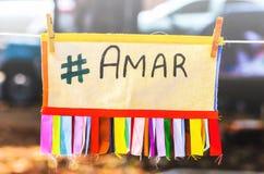 Message d'Amar, #amar, hashtag amar, écrit amar dans le Portugais Photographie stock