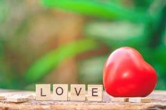 Message d'amour écrit dans les blocs en bois Image libre de droits