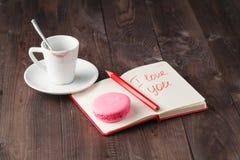 Message d'amour après avoir bu du café Photo libre de droits
