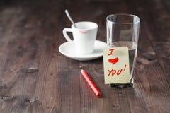 Message d'amour après avoir bu du café Image stock